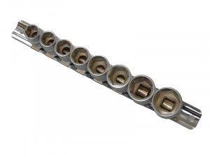 BlueSpot Tools Sockets On Rail Set of 8 Metric 3/8in Drive