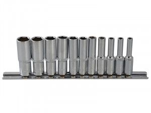 BlueSpot Tools Deep Socket Set of 11 Metric 1/4in Square Drive