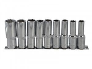 BlueSpot Tools Deep Socket Set of 9 Metric 1/2in Square Drive