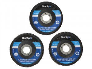 BlueSpot Tools Sanding Flap Disc Set 3 Piece 115mm (4.1/2in)