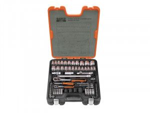 Bahco S800 Socket Set of 77 Metric & AF 1/4 & 1/2in Drive