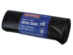 Faithfull Heavy-Duty Black Refuse Sacks (10)