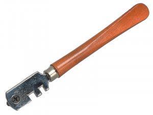 Faithfull Six Wheel Glasscutter Tungsten Carbide - Wood Handle
