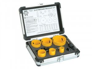 Faithfull Universal Varipitch Holesaw Electrician's Kit 9 Piece 16-51mm
