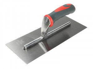 Faithfull Notched Trowel V 3mm Soft Grip Handle 11 x 4.1/2in