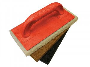 Faithfull Scouring Pad Holder + Fine Medium & Coarse Pads