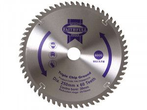 Faithfull, Professional Triple Chip Ground TCT Circular Saw Blade