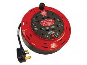 Faithfull Power Plus Cable Reel 240 Volt 10 Metre 10 Amp 4 Socket