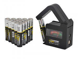 Lighthouse AAA Batteries Bulk Pack (16) + Tester
