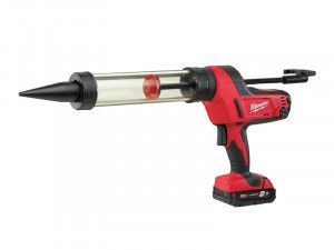 Milwaukee C18 PCG/400T Transparent Tube Caulking Gun 400ml 18V 1 x 2.0Ah Li-Ion