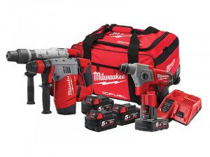 Milwaukee M18 FPP3A-564B SDS Triple Kit 3 x 18V 5.0Ah/1 x 12V 6.0Ah Li-Ion