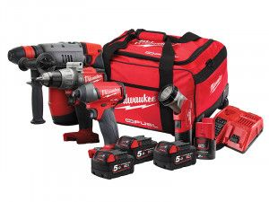 Milwaukee M18 FPP4M-524B 4 Piece Kit 3 x 18V 5.0Ah/1 x 12V 2.0Ah Li-Ion