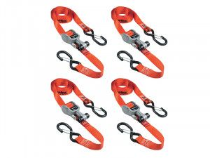 Master Lock Ratchet Tie-Down S Hooks 4.25m Red 4 Piece