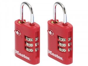Master Lock TSA Combination Zinc Padlocks 3 Digit 30mm x 2