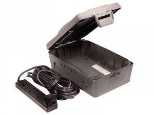 Masterplug Weatherproof Box with 10 Metre 240 Volt 4 Way Bar