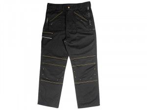 Roughneck Clothing, Black Multi Zip Work Trousers