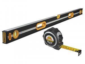 Roughneck Professional Heavy-Duty Spirit Level 120cm & Tape Measure 5m/16ft (Width 25mm)