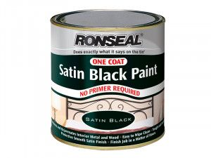 Ronseal One Coat Paint Satin Black 250ml