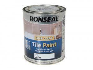 Ronseal One Coat Tile Paint White Satin 750ml