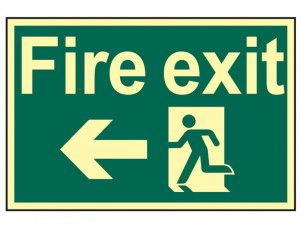 Scan Fire Exit Running Man Arrow Left - Photoluminescent 300 x 200mm