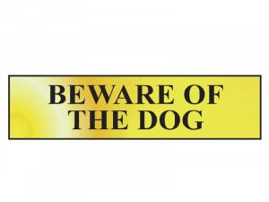 Scan Beware Of The Dog - Polished Brass Effect 200 x 50mm