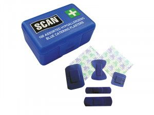 Scan Hypoallergenic Blue Plasters 100 Assorted