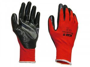 Scan, Palm Dipped Black Nitrile Gloves