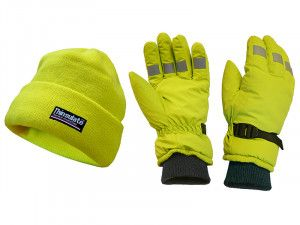 Scan Hi-Visibility Beanie Hat & Gloves Yellow