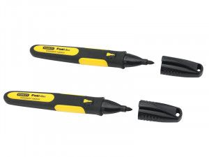 Stanley Tools Chisel Tip Markers - Black (Pack of 2)