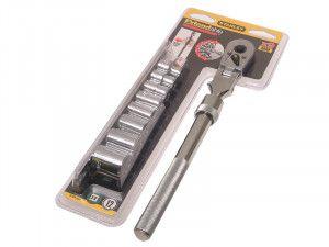 Stanley Tools Socket Rack of 8 Sockets + Ratchet Metric 3/8in Drive
