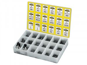 Stanley Tools Insert Bits Assorted Tray 200 Pozi / Phillips/ Slotted