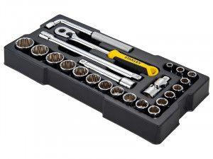 Stanley Tools 1/2in Drive 12 Point Metric Socket Module 23 Piece