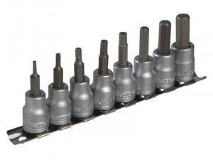 Teng M3811 Socket Clip Rail AF Hex Set of 8 3/8in Drive