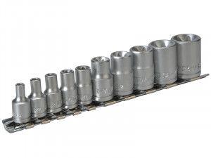 Teng M3814 Socket Clip Rail TX-E Set of 10 3/8in & 1/4in Drive