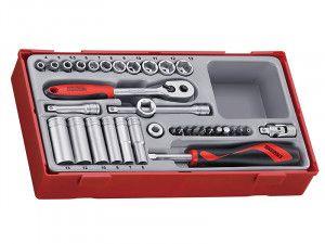 Teng TT1435 35 Piece Socket Set 4-13mm - 1/4in Drive