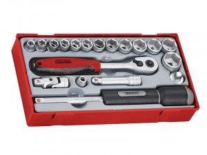 Teng TT3819 19 Piece Reg Metric Socket Set 3/8in Drive