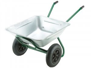 Walsall 175L Galvanised Garden Twin Wheelbarrow