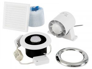 Xpelair Airline LED Shower Fan Kit With Timer 100mm