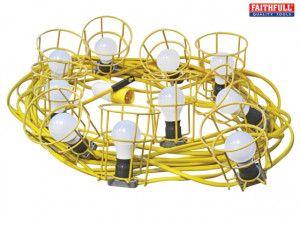 Faithfull Power Plus Festoon Lights 22m 10 Bulbs 110 Volt