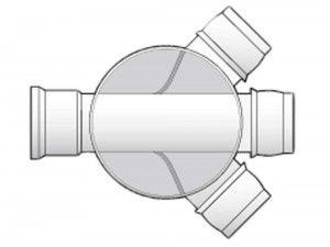 FloPlast - Mini Access Chamber 300mm Diameter  - 3 x 110mm Flexible Inlets - D801