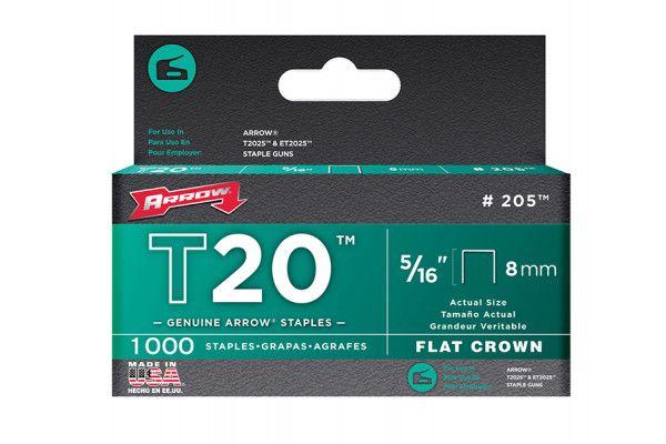 Arrow T20 Staples 8mm (5/16in) Box 1000
