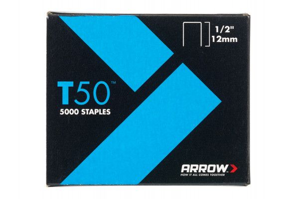 Arrow T50 Staples 12mm (1/2in) Pack 5000 (4 x 1250)