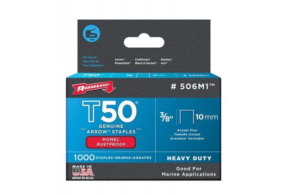 Arrow T50M 506m Monel Staples 10mm (3/8in) Box 1000