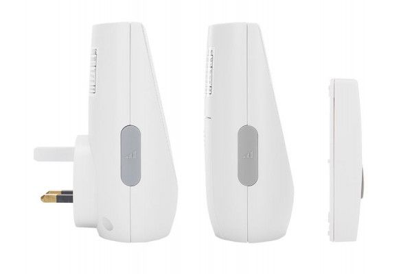 Byron BY212F Portable Wireless Plug-In Door Chime Kit with Flashing Light 100m