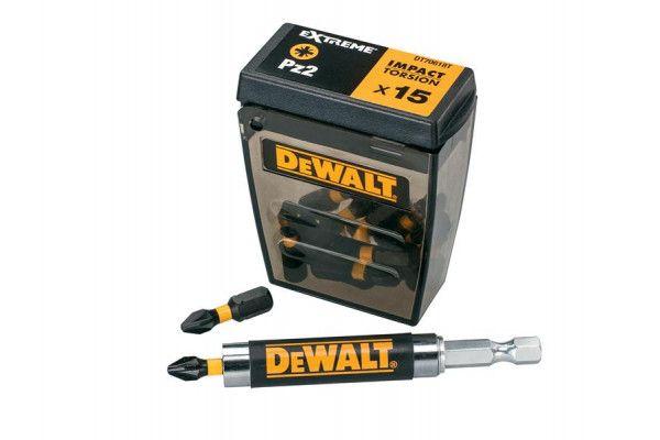 DEWALT DT70618T Impact Torsion Bits PZ2 Tic Tac Box of 15 + Holder