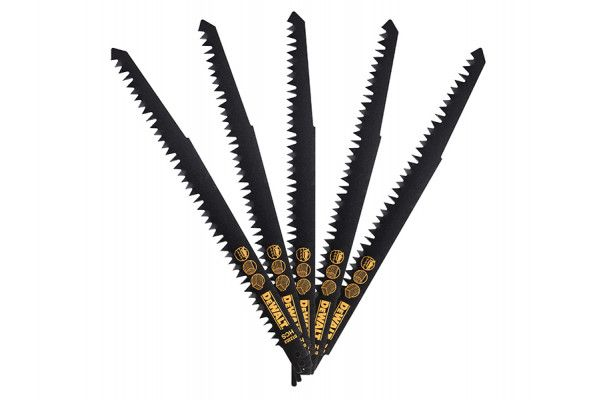 DEWALT HCS Wood Cutting Recip Saw Blades - Coarse, Fast Cuts 240mm (Pack 5)