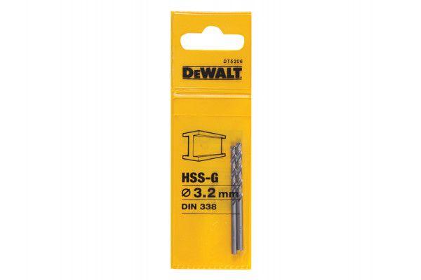 DEWALT HSS G Jobber Drill Bit 3.2mm OL:65mm WL:36mm