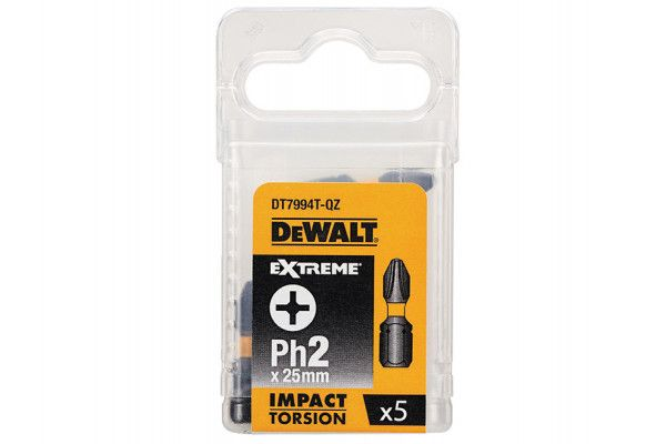 DEWALT Impact Torsion Bits PH2 25mm Pack of 5