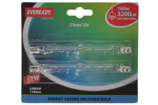 Energizer Lighting 118mm Linear Halogen Bulb 240v 160 Watt (200 Watt) Card of 2