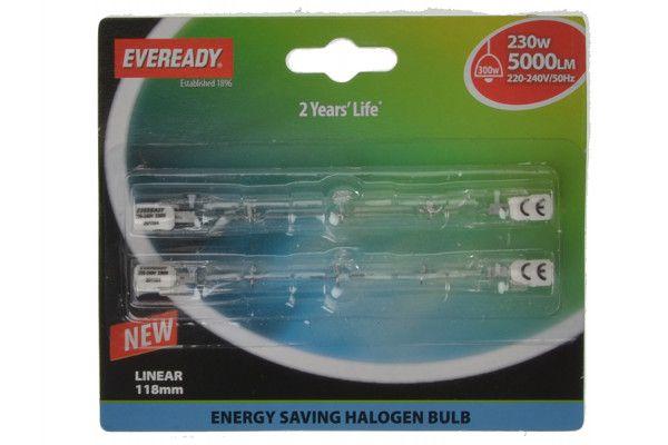 Energizer Lighting 118mm Linear Halogen Bulb 240v 240 Watt (300 Watt) Card of 2